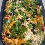 LAYERED TACO SALAD DIP WITH GROUND BEEF